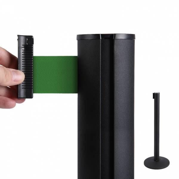 Bariéra černá, 2,6m výsuvný pásek zelený