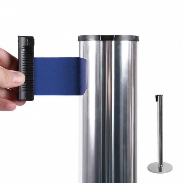 Bariéra chromová, 2,7m výsuvný pásek modrý