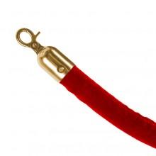 Červený provaz na barierový sloupek, zlaté koncovky