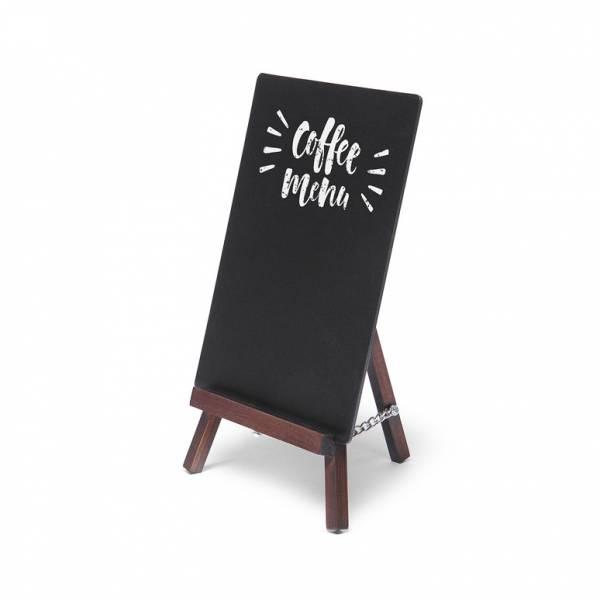 dřevěný stojánek s křídovou tabulí, tmavě hnědý