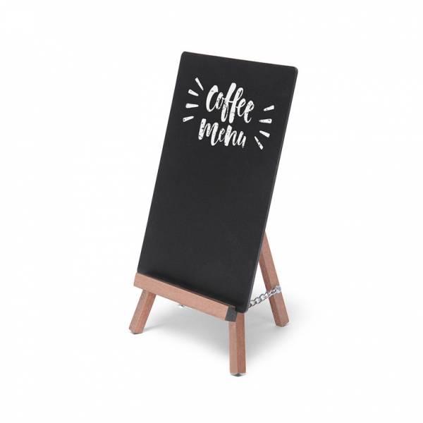 dřevěný stojánek s křídovou tabulí, světle hnědý