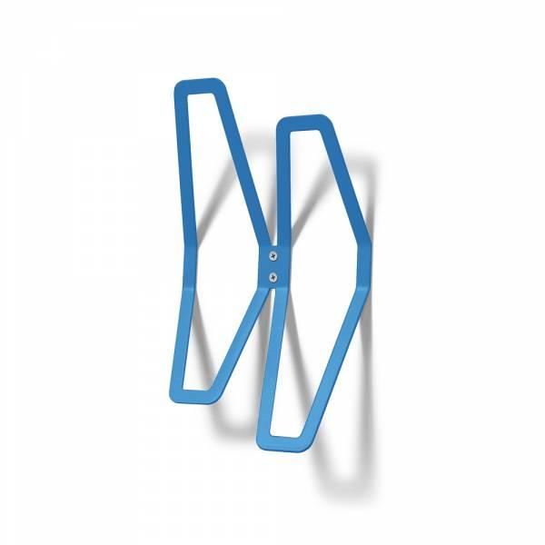 Nástěnný designový věšák dvojitý, modrý