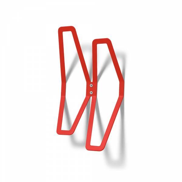 Nástěnný designový věšák dvojitý, červený