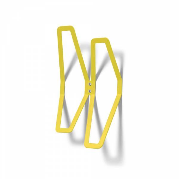 Nástěnný designový věšák dvojitý, žlutý