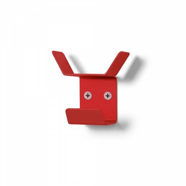 Nástěnný věšák mini, trojitý, červený