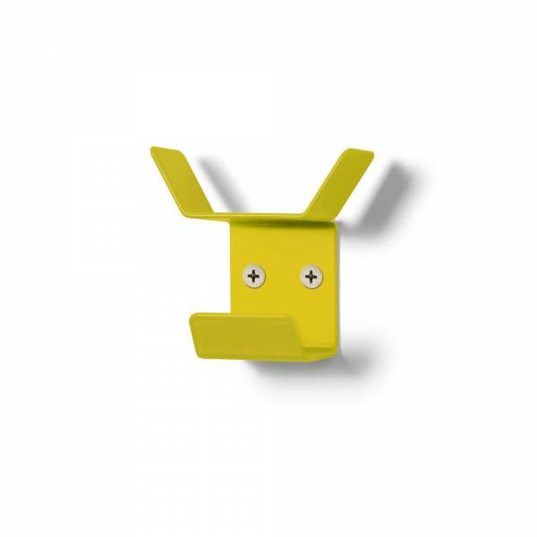 Nástěnný věšák mini, trojitý, žlutý