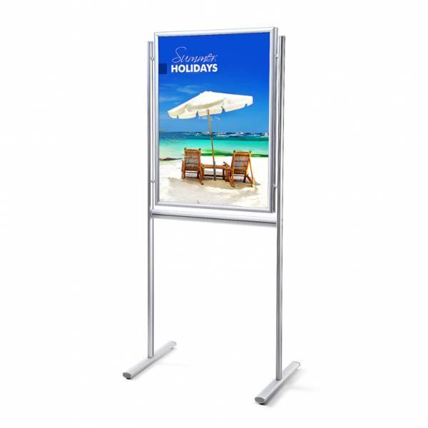Informační stojan infoboard s klaprámem 700x1000mm, ostrý roh, profil 25mm, oboustranný