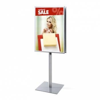 Oboustranný informační stojan infopole s klaprámy 700x1000mm, ostrý roh, profil 25mm