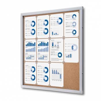Informační vitrína 12xA4, korková záda