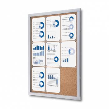 Informační vitrína 9xA4, korková záda
