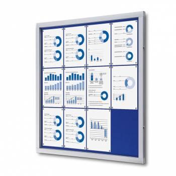 Informační vitrína 12xA4, modrá textilní záda