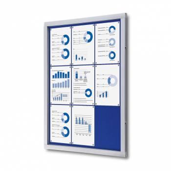 Informační vitrína 9xA4, modrá textilní záda