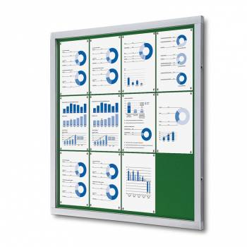 Informační vitrína 12xA4, zelená textilní záda