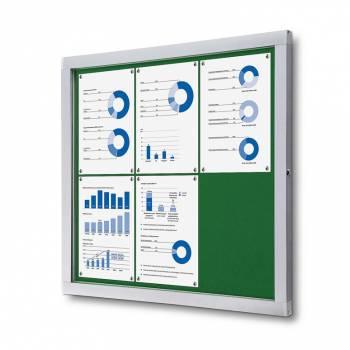Informační vitrína 6xA4, modrá textilní záda
