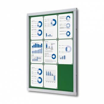 Informační vitrína 9xA4, zelená textilní záda