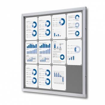 Informační vitrína 12xA4, šedá textilní záda
