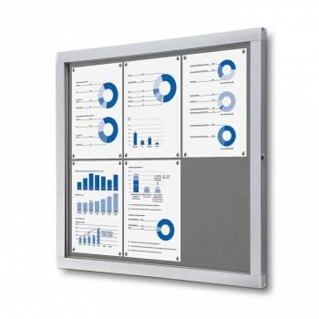 Informační vitrína 6xA4, šedá textilní záda