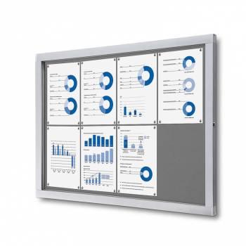 Informační vitrína 8xA4, šedá textilní záda