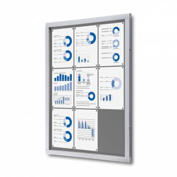 Informační vitrína 9xA4, šedá textilní záda