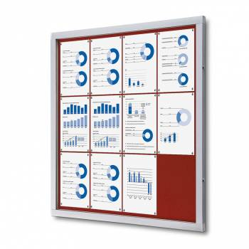 Informační vitrína 12xA4, červená textilní záda