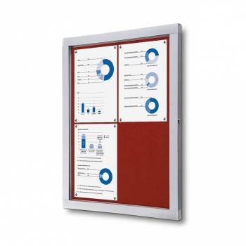 Informační vitrína 4xA4, červená textilní záda