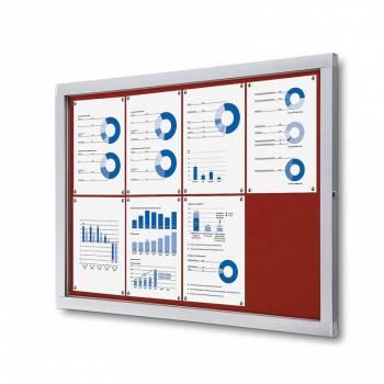 Informační vitrína 8xA4, červená textilní záda