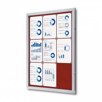 Informační vitrína 9xA4, červená textilní záda