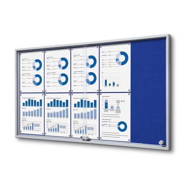 Interiérová vitrína 10xA4 SLIM, posuvné dveře, plstěná záda modrá