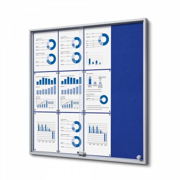 Interiérová vitrína 12xA4 SLIM, posuvné dveře, plstěná záda modrá