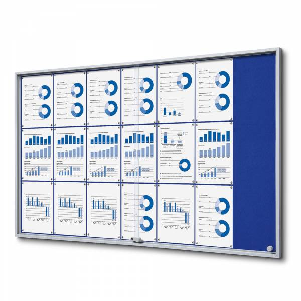 Interiérová vitrína 21xA4 SLIM, posuvné dveře, plstěná záda modrá