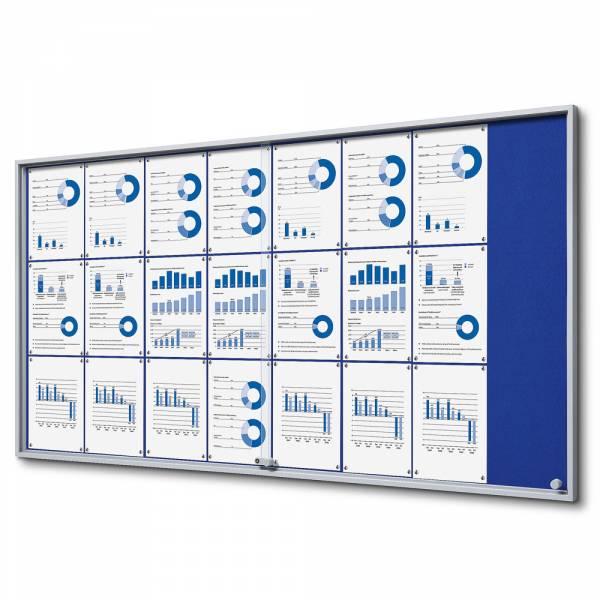 Interiérová vitrína 24xA4 SLIM, posuvné dveře, plstěná záda modrá