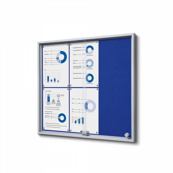 Interiérová vitrína 6xA4 SLIM, posuvné dveře, plstěná záda modrá