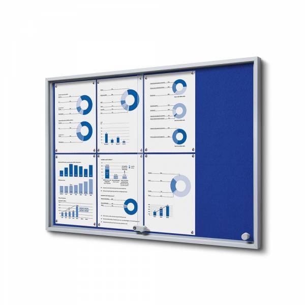 Interiérová vitrína 8xA4 SLIM, posuvné dveře, plstěná záda modrá
