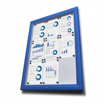 Venkovní vitrína typu T určená pro  18xA4 - barva RAL 5010 modrá