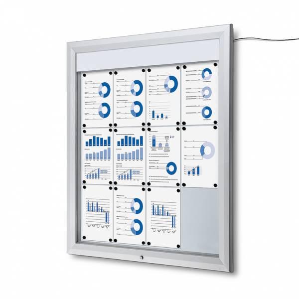Venkovní vitrína typu T určená pro  12xA4, LED osvětlení