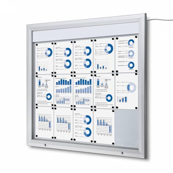 Venkovní vitrína typu T určená pro  15xA4, LED osvětlení