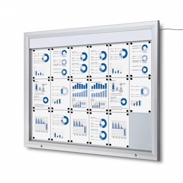 Venkovní vitrína typu T určená pro  18xA4, LED osvětlení