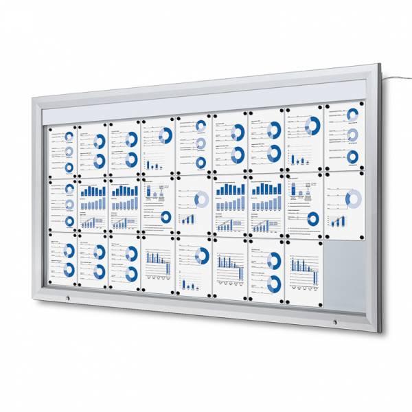 Venkovní vitrína typu T určená pro  27xA4, LED osvětlení