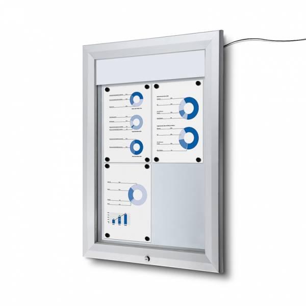 Venkovní vitrína typu T určená pro  4xA4, LED osvětlení