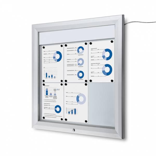 Venkovní vitrína typu T určená pro  6xA4, LED osvětlení