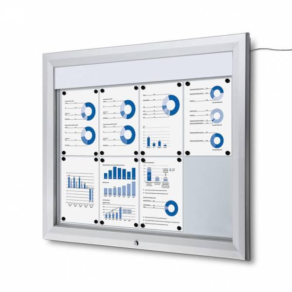 Venkovní vitrína typu T určená pro  8xA4, LED osvětlení