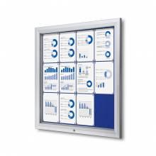Venkovní uzamykatelná vitrína typu T, 12xA4, textilní zadní stěna - modrá
