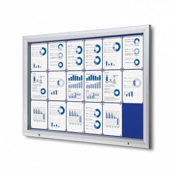 Venkovní uzamykatelná vitrína typu T, 18xA4, textilní zadní stěna - modrá