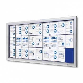 Venkovní uzamykatelná vitrína typu T, 27xA4, textilní zadní stěna - modrá