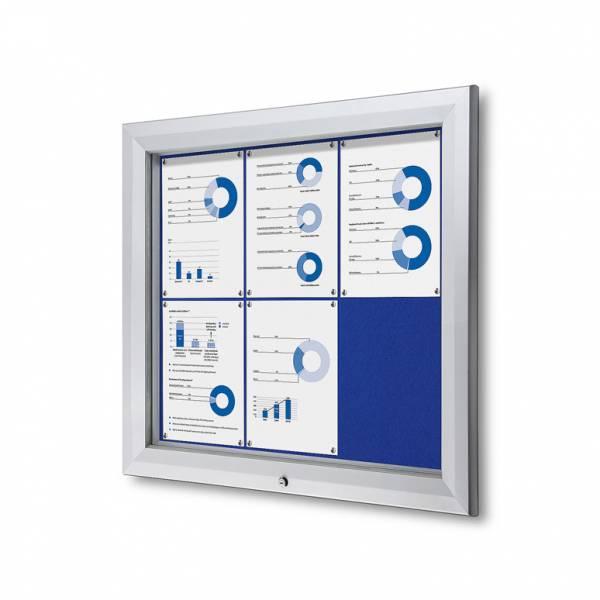 Venkovní uzamykatelná vitrína typu T, 6xA4, textilní zadní stěna - modrá