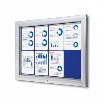 Venkovní uzamykatelná vitrína typu T, 8xA4, textilní zadní stěna - modrá