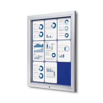 Venkovní uzamykatelná vitrína typu T, 9xA4, textilní zadní stěna - modrá