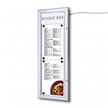 Venkovní uzamykatelná světelná menu vitrína 2xA4T