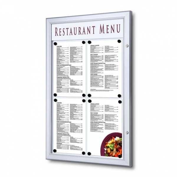 Venkovní uzamykatelná menu vitrína 4xA4