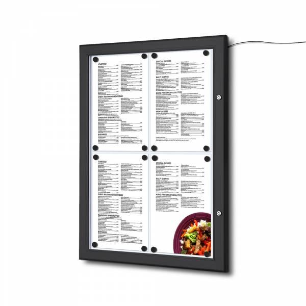 Černá Menu vitrína 4xA4, osvětlená, bez topkarty